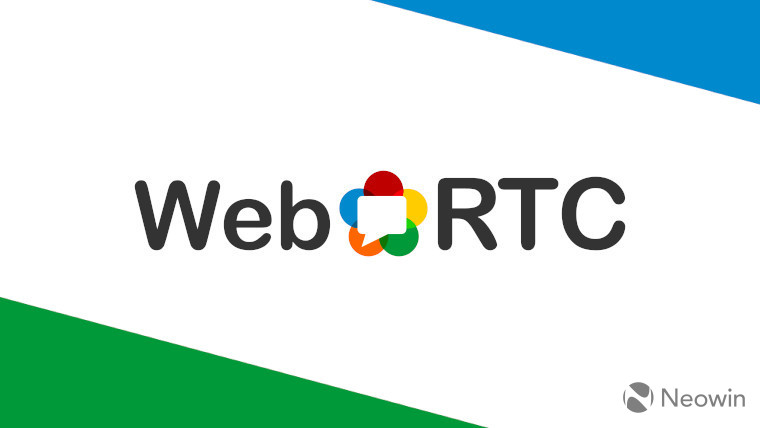 The WebRTC logo on a white, blue and green background