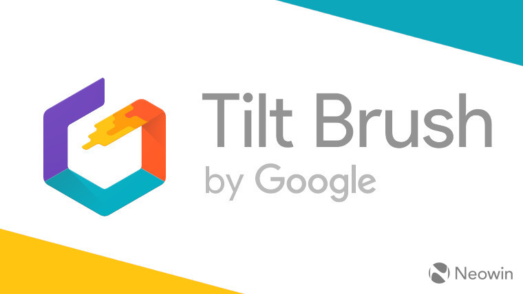 The Tilt Brush logo on a white, blue and yellow background
