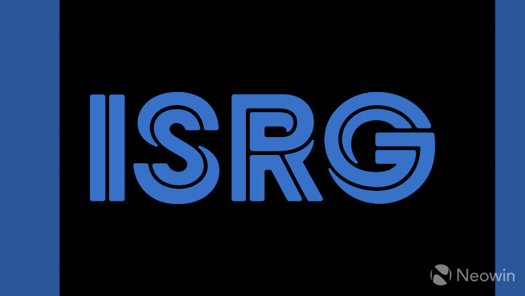 The ISRG logo on a black and blue background