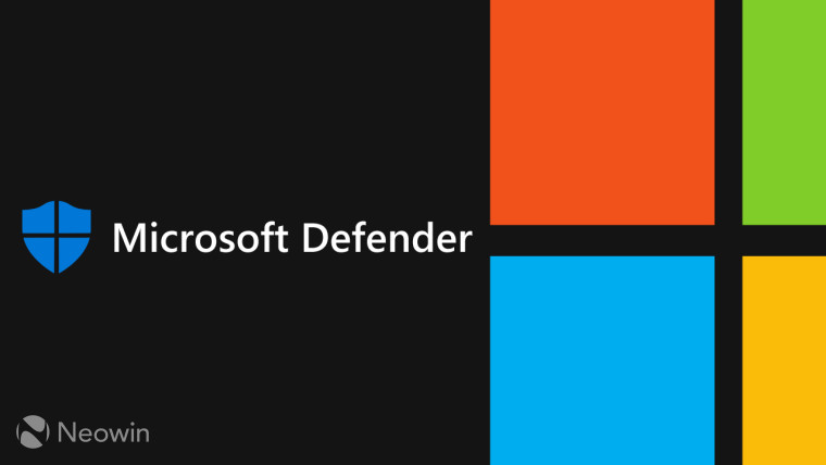 An image containing the Microsoft and MIcrosoft Defender logos over a black background