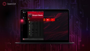A laptop with Spotify running in the sidebar of Opera GX