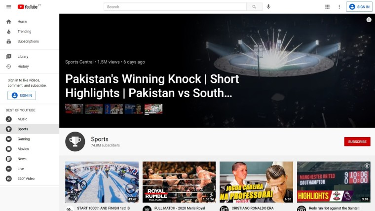 Landing page of YouTube Sports section