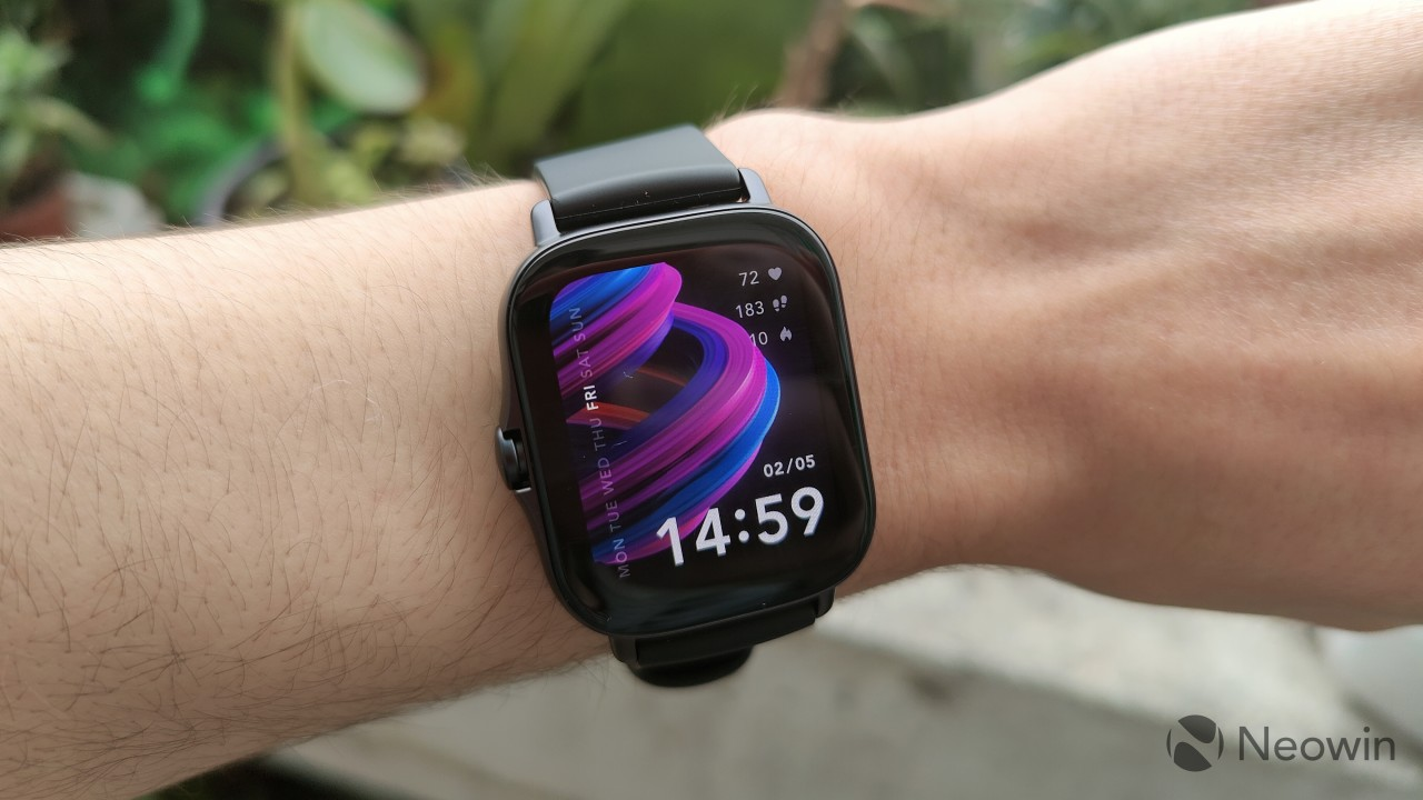 Amazfit GTS 2e with a rotated interface to have the side button on the left