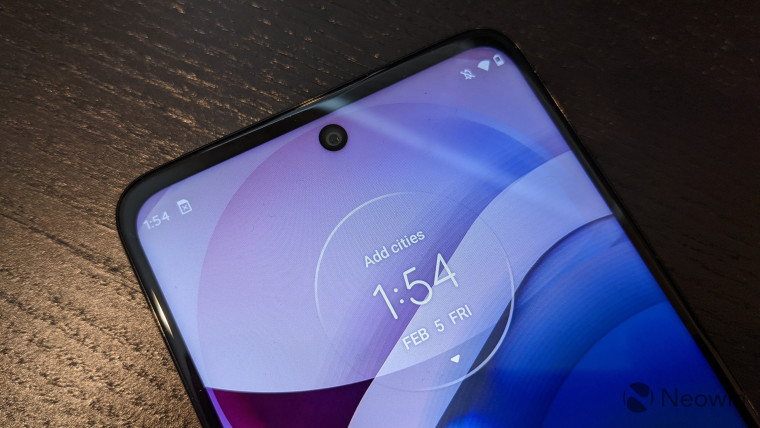 Top of Motorola One 5G Ace display with hole-punch cut-out