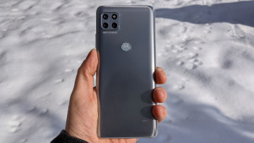 Back of Motorola One 5G Ace with snow background