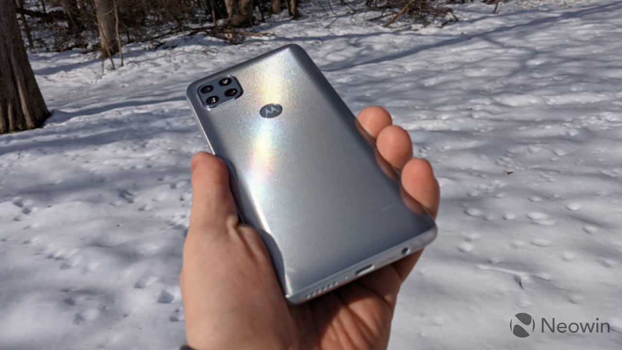 Motorola One 5G Ace with snow background