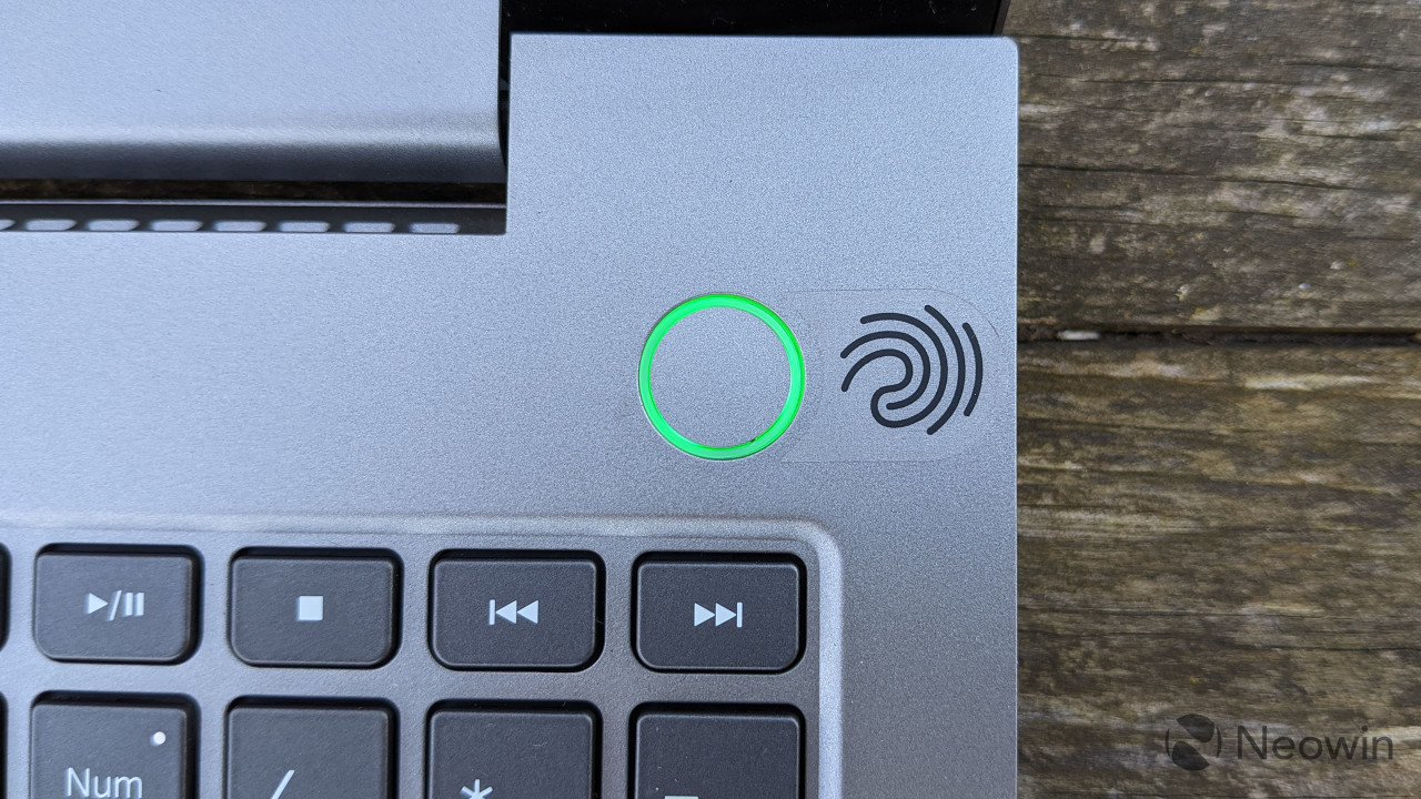 Close-up of Lenovo ThinkBook 15p fingerprint sensor