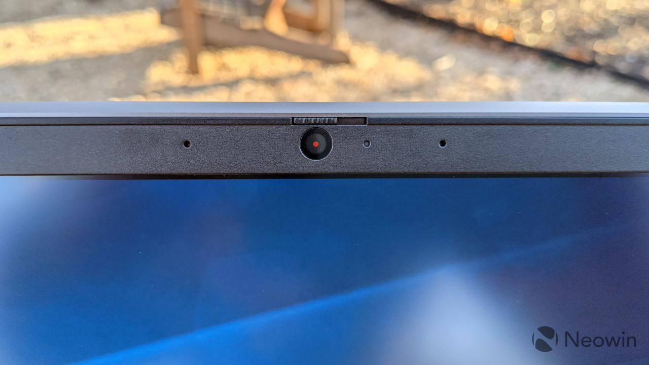 Close-up of the Lenovo ThinkBook 15p webcam, showing privacy guard