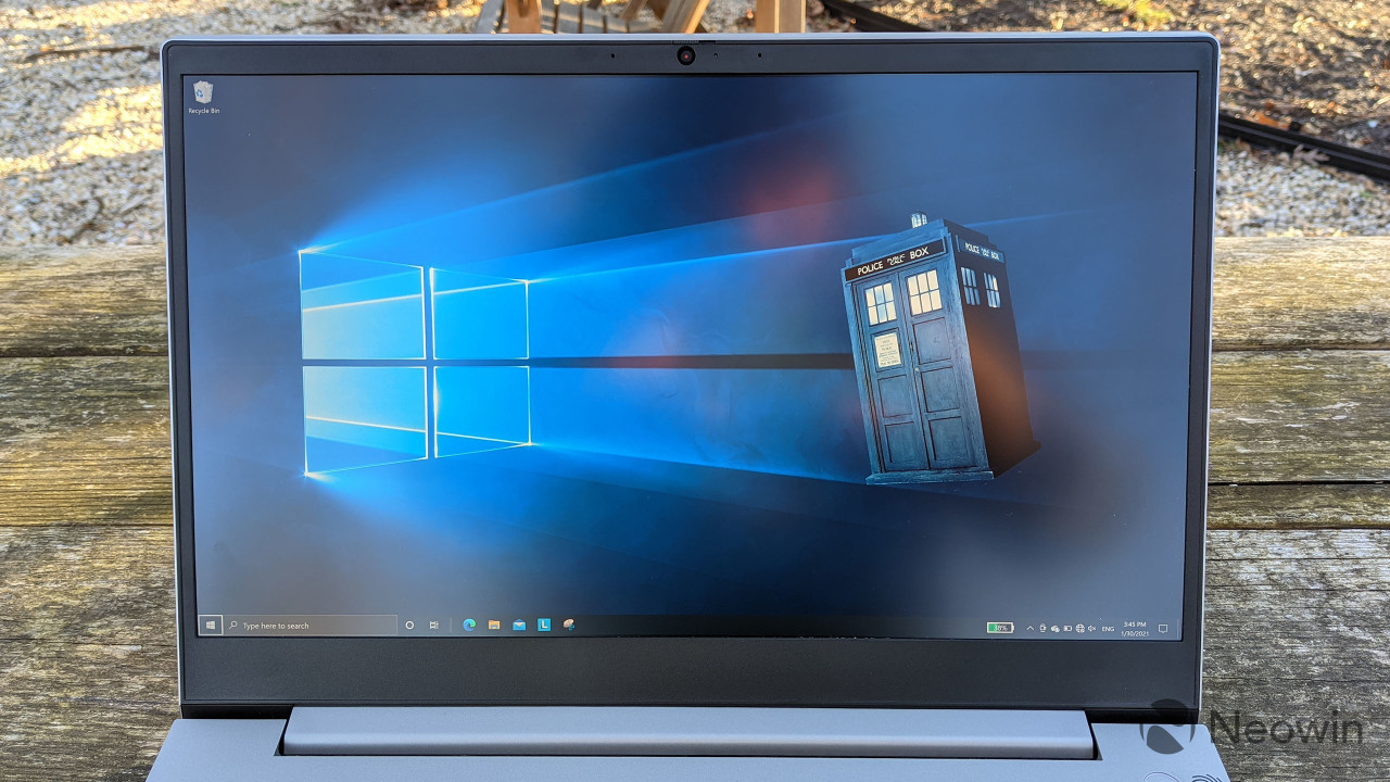 Close-up of Lenovo ThinkBook 15p screen with Doctor Who wallpaper