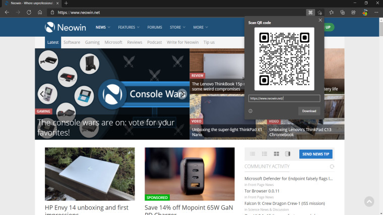 Neowin.net on Microsoft Edge showing the QR code feature