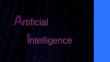 The words Artificial Intelligence on a black and blue background