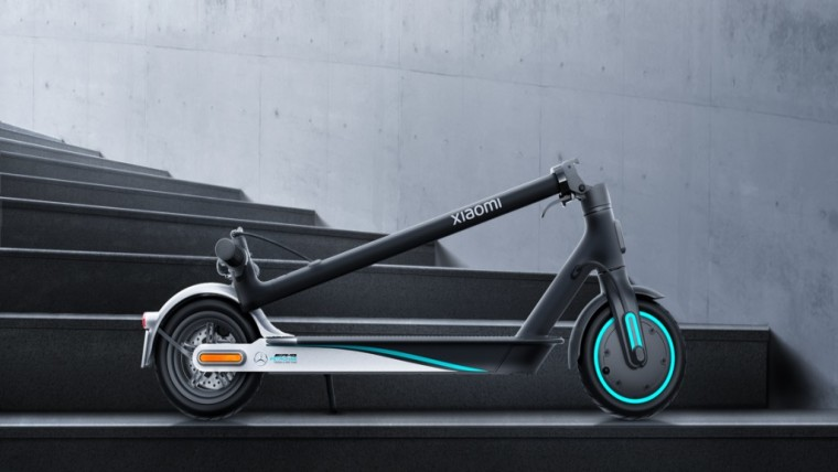Side view of the Mi Electric Scooter Pro 2 with the handle folded up