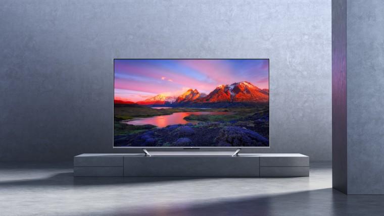 Xiaomi Mi TV Q1 75-inch on a TV stand