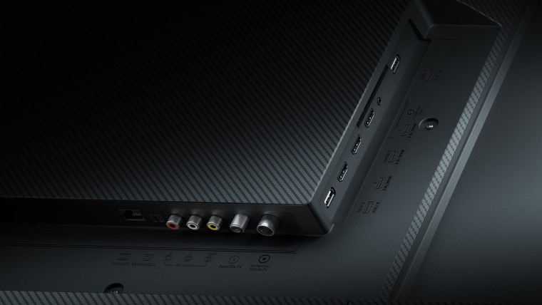 Rear view of the Xiaomi Mi TV Q1 75-inch showing all of its ports