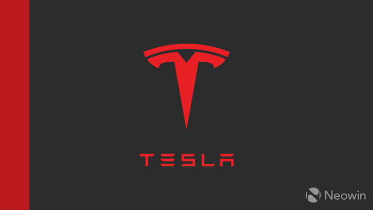 The Tesla logo on a black background