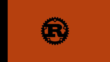 The Rust programming language logo on a black and orange background