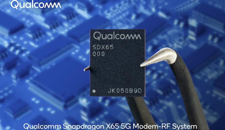 Qualcomm Snapdragon X65 5G Modem-RF System with blue background