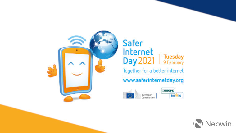 The Safer Internet Day banner on a white, blue and orange background