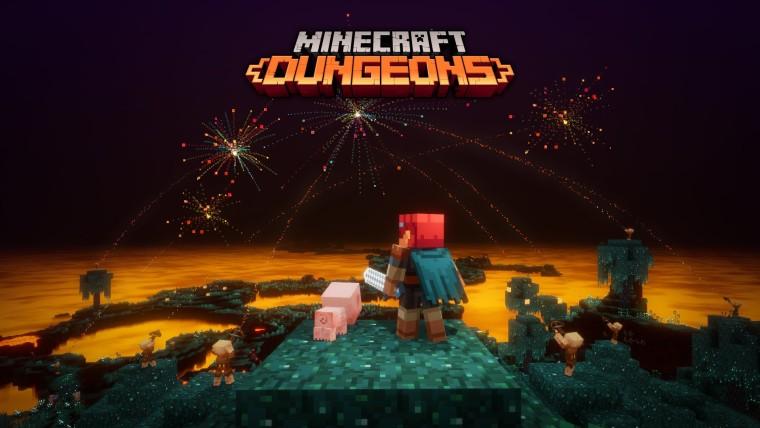 Minecraft Dungeons celebrating 10 million players