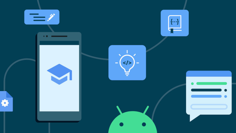 A cartoon representing the Android developer curriculum
