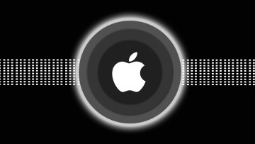 Apple logo against a black background and grey circles