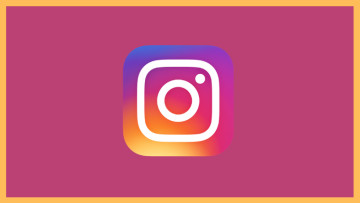 Instagram logo in the middle with a purple background and a yellow outline
