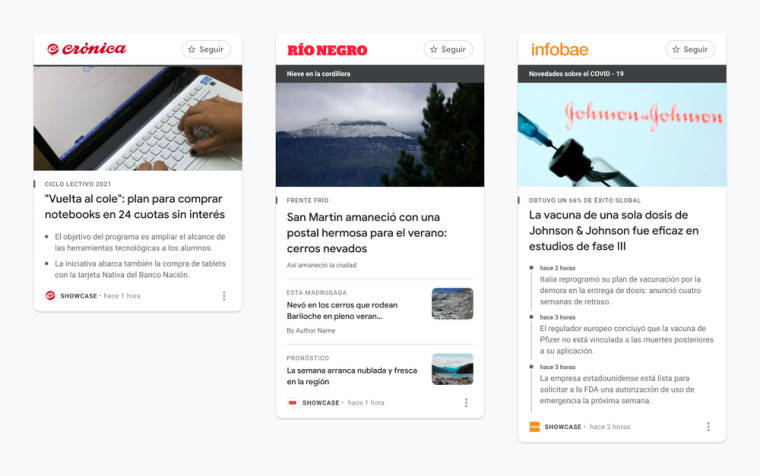 Google News Showcase with story panels from Crónica, Diario Río Negro, and Infobae