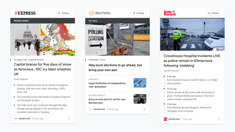 Google News Showcase panels showing articles from the Daily Express, Reuters, and Daily Record