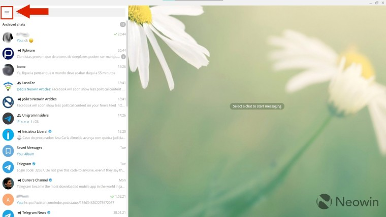 Screenshot of Telegram Desktop with an arrow pointing to the hamburger menu