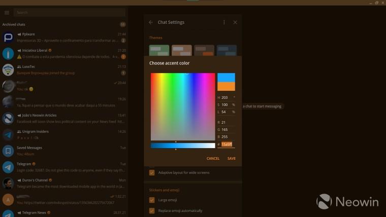 Custom color picker in Telegram Desktop