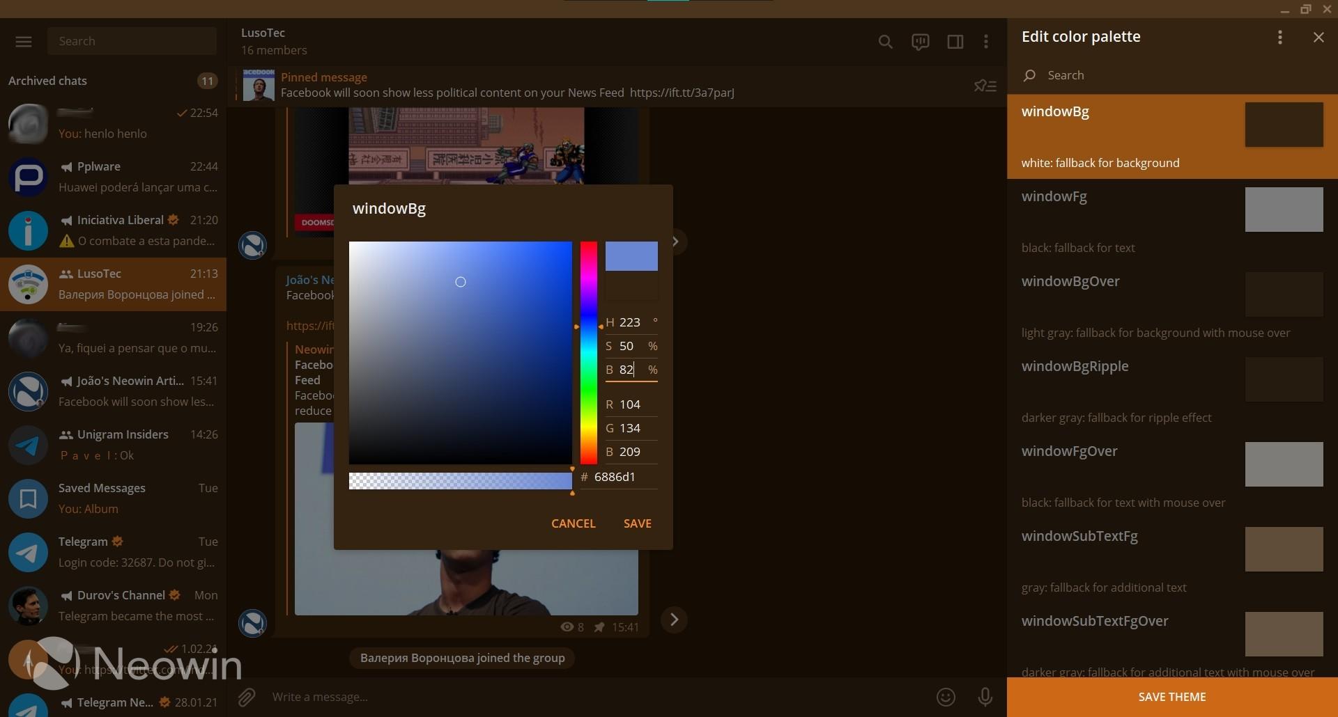 The color picker in Telegram Desktop's theme creator