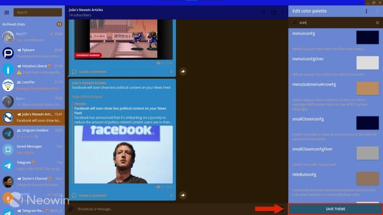 Arrow pointing to the Save Theme button in Telegram Desktop's theme creator