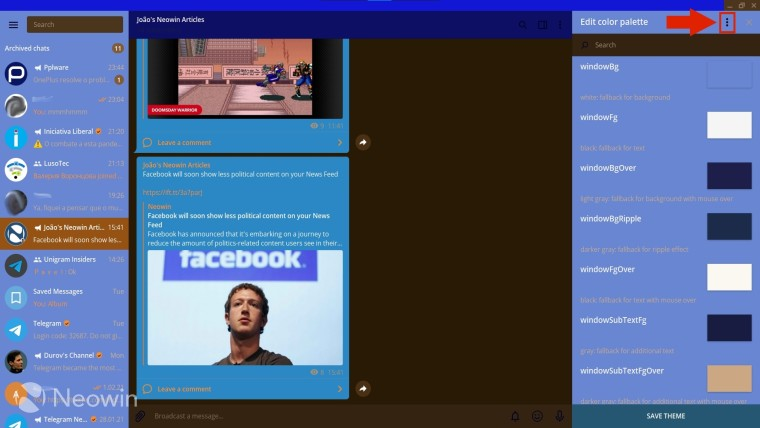 Arrow pointing to the three-dot menu in Telegram Desktop's theme creator