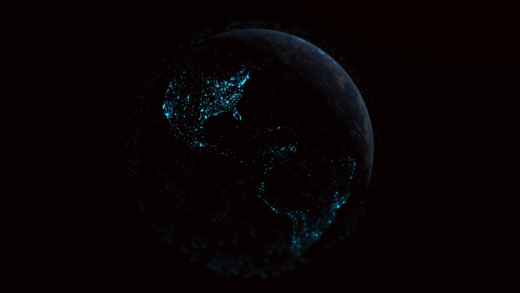 Earth containing blue regions viewed from space