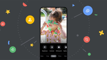 Google Photos video editor showing child with green glasses