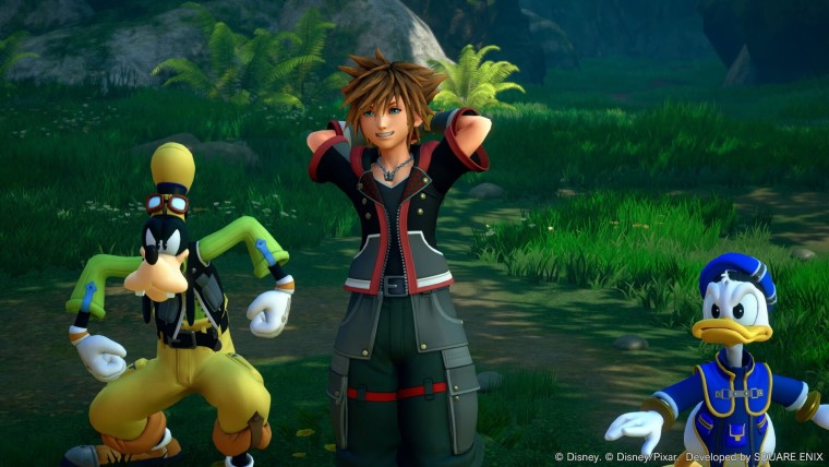 Kingdom Hearts 3 screenshot showing the protagonist with Disney characters