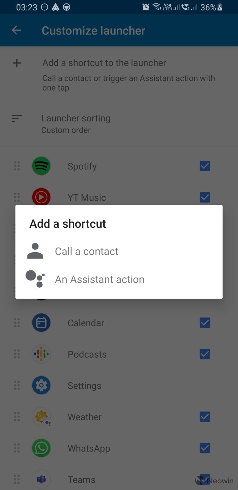 Android Auto app settings for adding a shortcut to the launcher