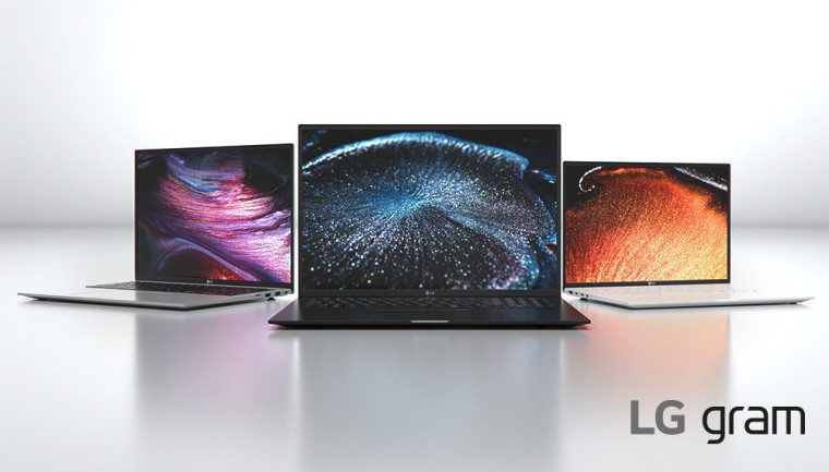 Three LG gram laptops in silver, black, and white colors