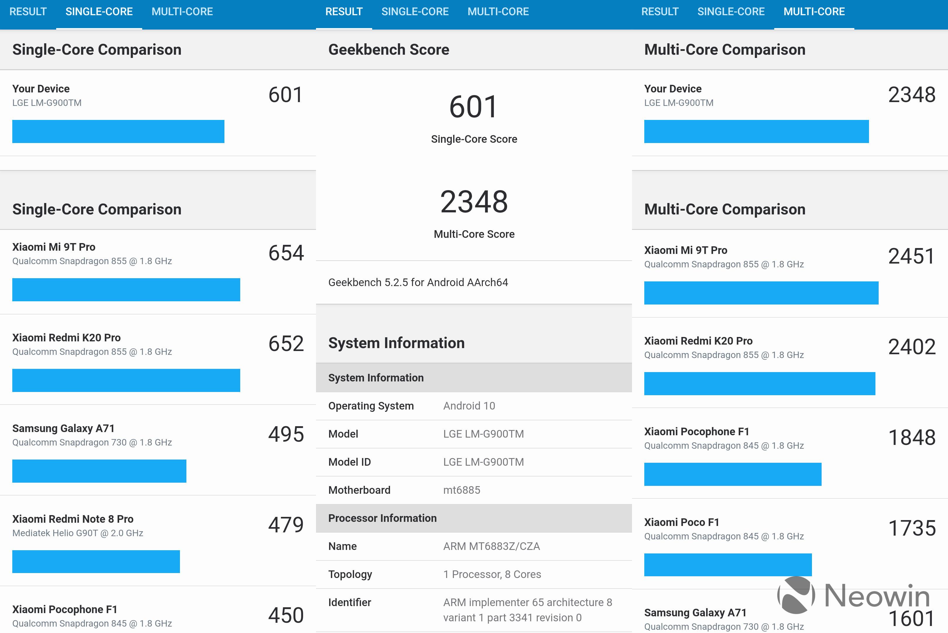 Screenshots of benchmarks for LG Velvet