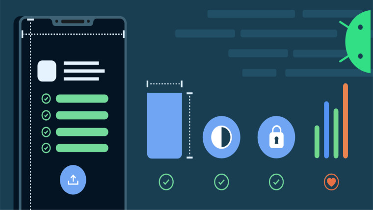 An animated graphic emphasizing design components of Android apps