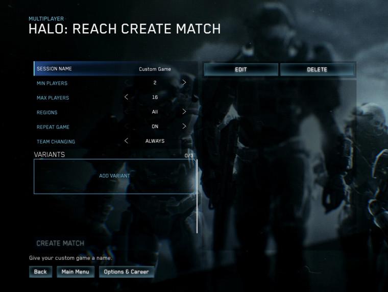 Halo MCC Custom Game Browser options