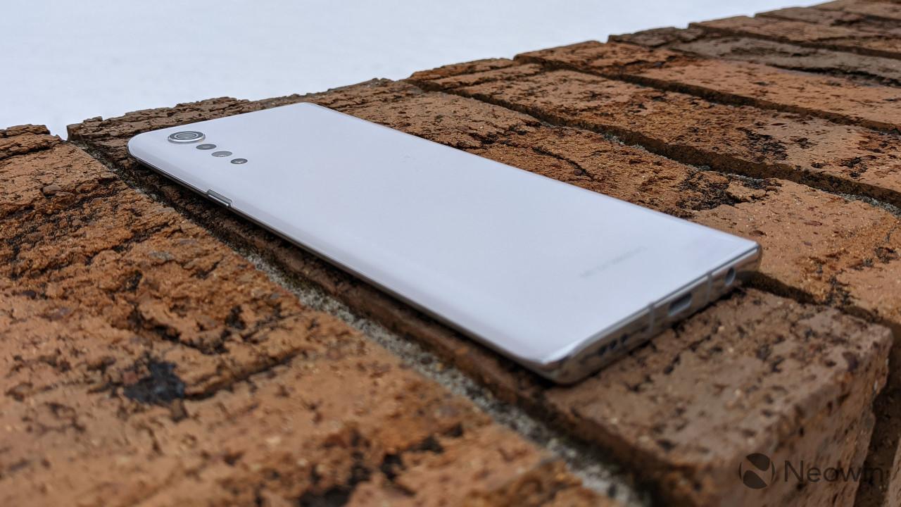 LG Velvet handset on brick