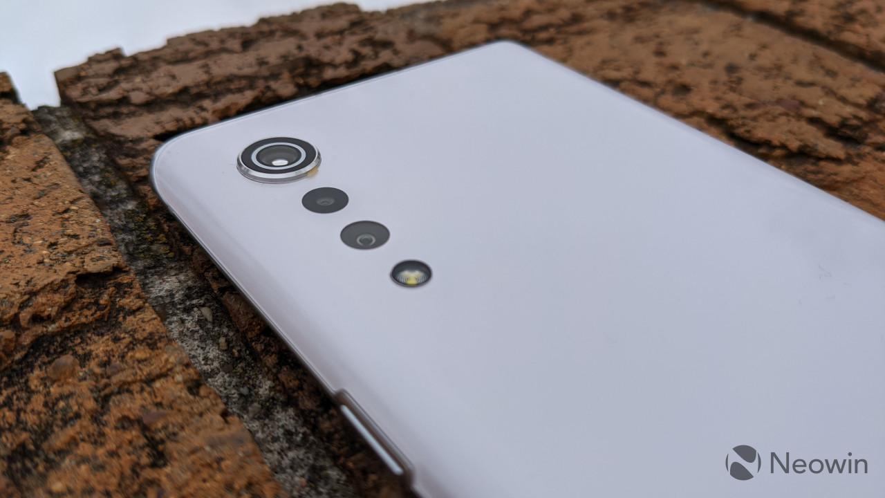 LG Velvet camera system with brick background