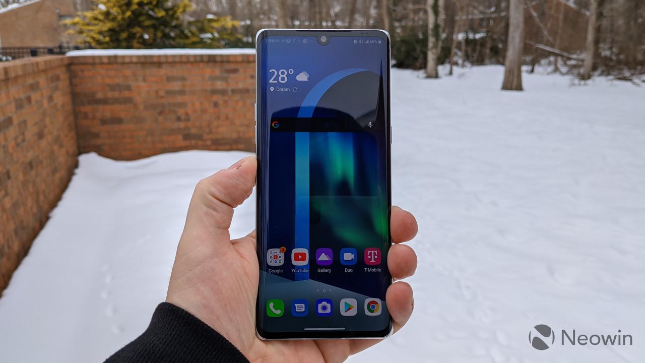 LG Velvet display with snowy background