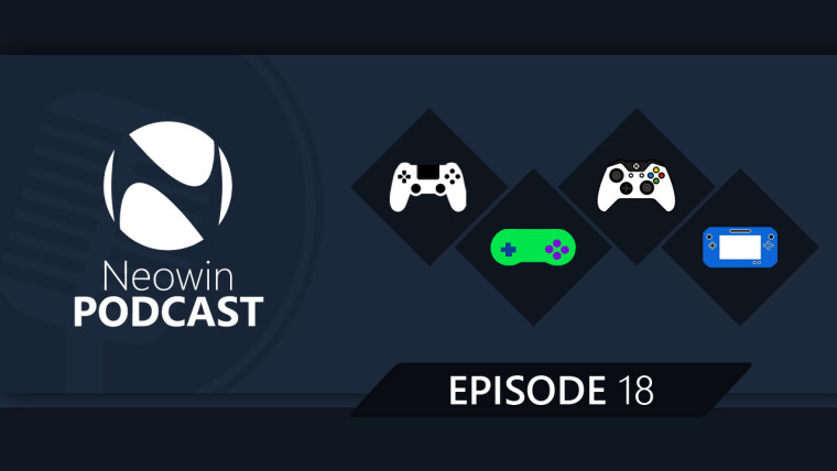 Neowin podcast logo with icons of Xbox, PS4, and SNES gaming controllers