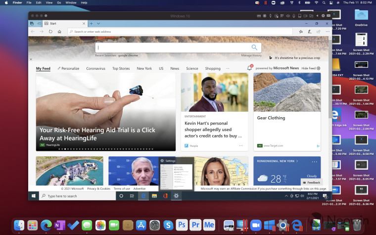 Windows 10 running in Parallels on top of macOS