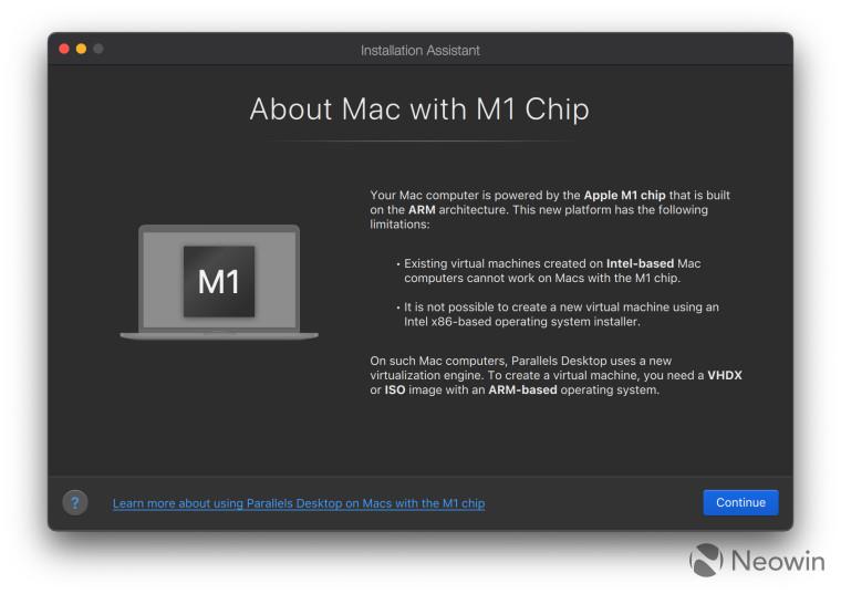 Screenshot with text describing Mac on an M1 chip