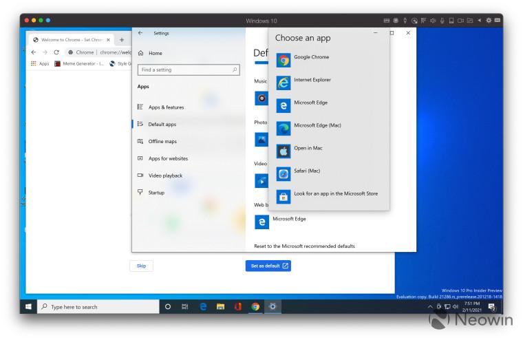 Windows 10 screenshot showing default browser selection