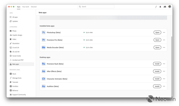 Screenshot of Adobe CC showing beta apps for Apple Silicon