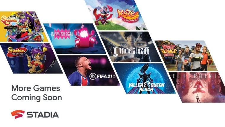 Posters of various games coming to Stadia such as FIFA 21 and Judgement